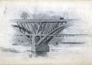 Thomas Cowperthwait Eakins - Drawing Of Girard Avenue Bridge