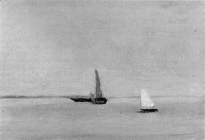 Thomas Cowperthwait Eakins - Study for Ships and Sailboats on the Delaware