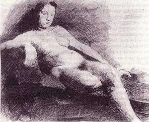 Nude woman reclining on a couch
