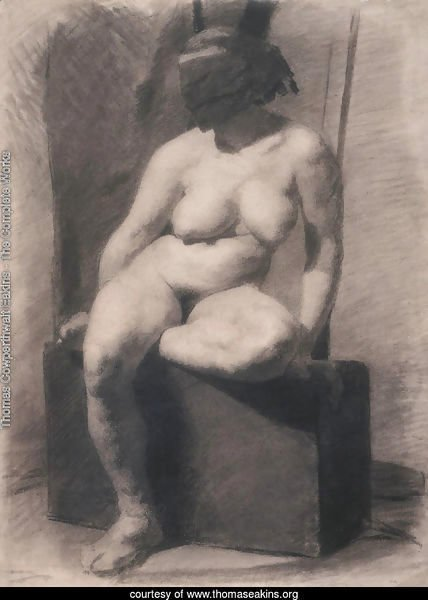 Masked nude woman, seated