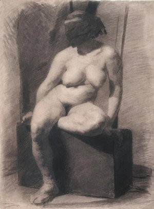 Thomas Cowperthwait Eakins - Masked nude woman, seated